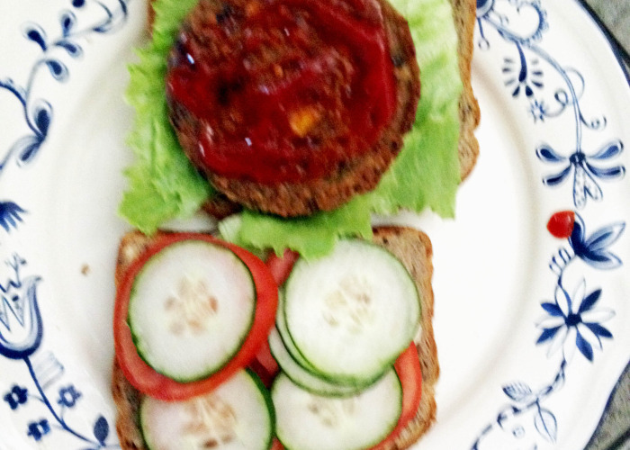 Veggie Burger with Ketchup - Yum yum!