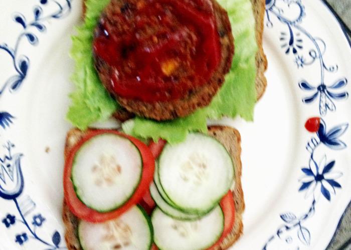 Veggie Burger with Ketchup - Yum yum!