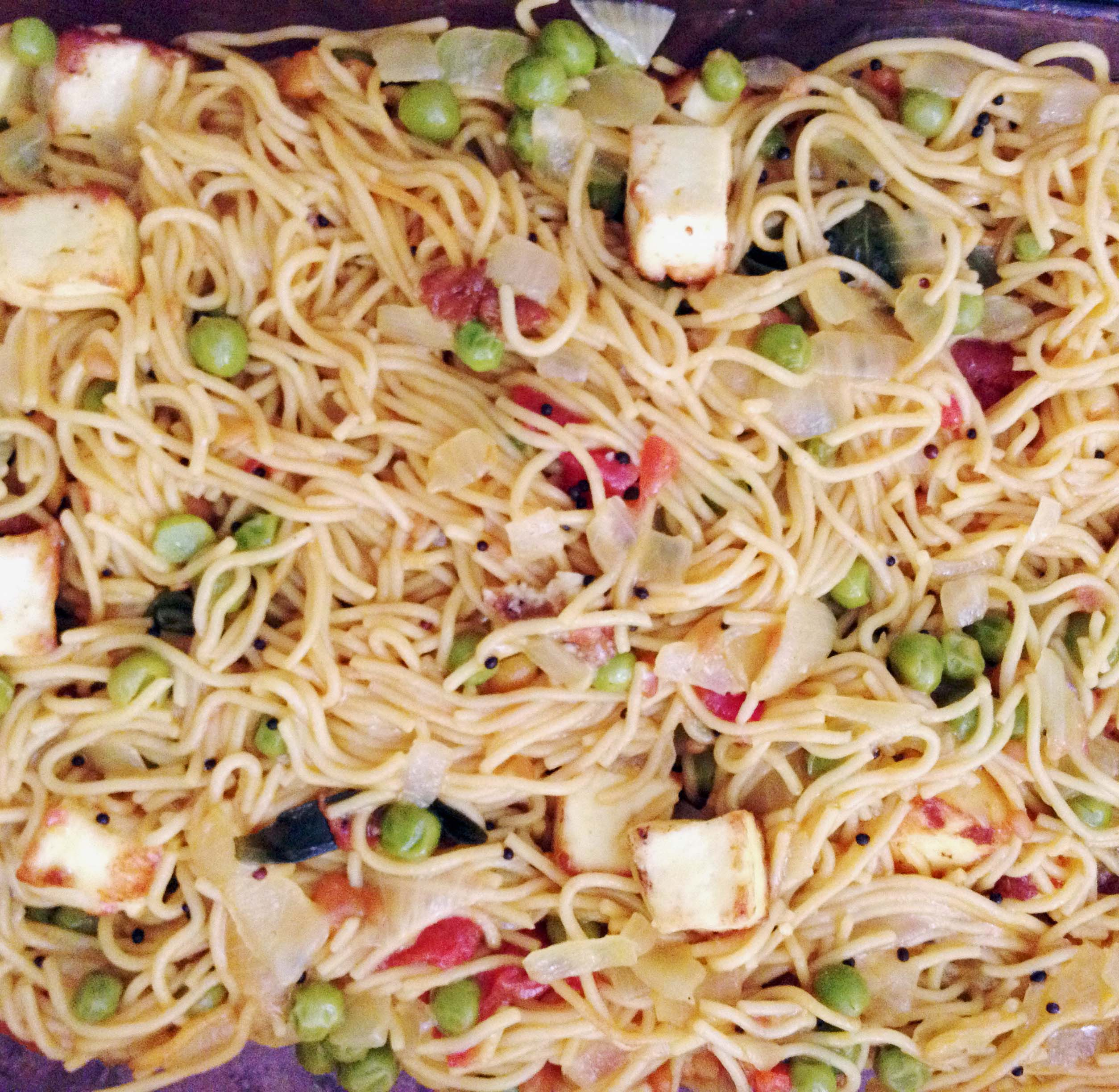 Angel Hair Pasta (with Veggies, Spices and Cheese Cubes)