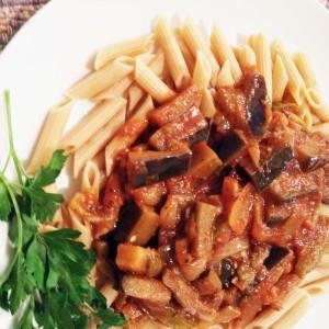 Eggplant Pasta Sauce on Penne