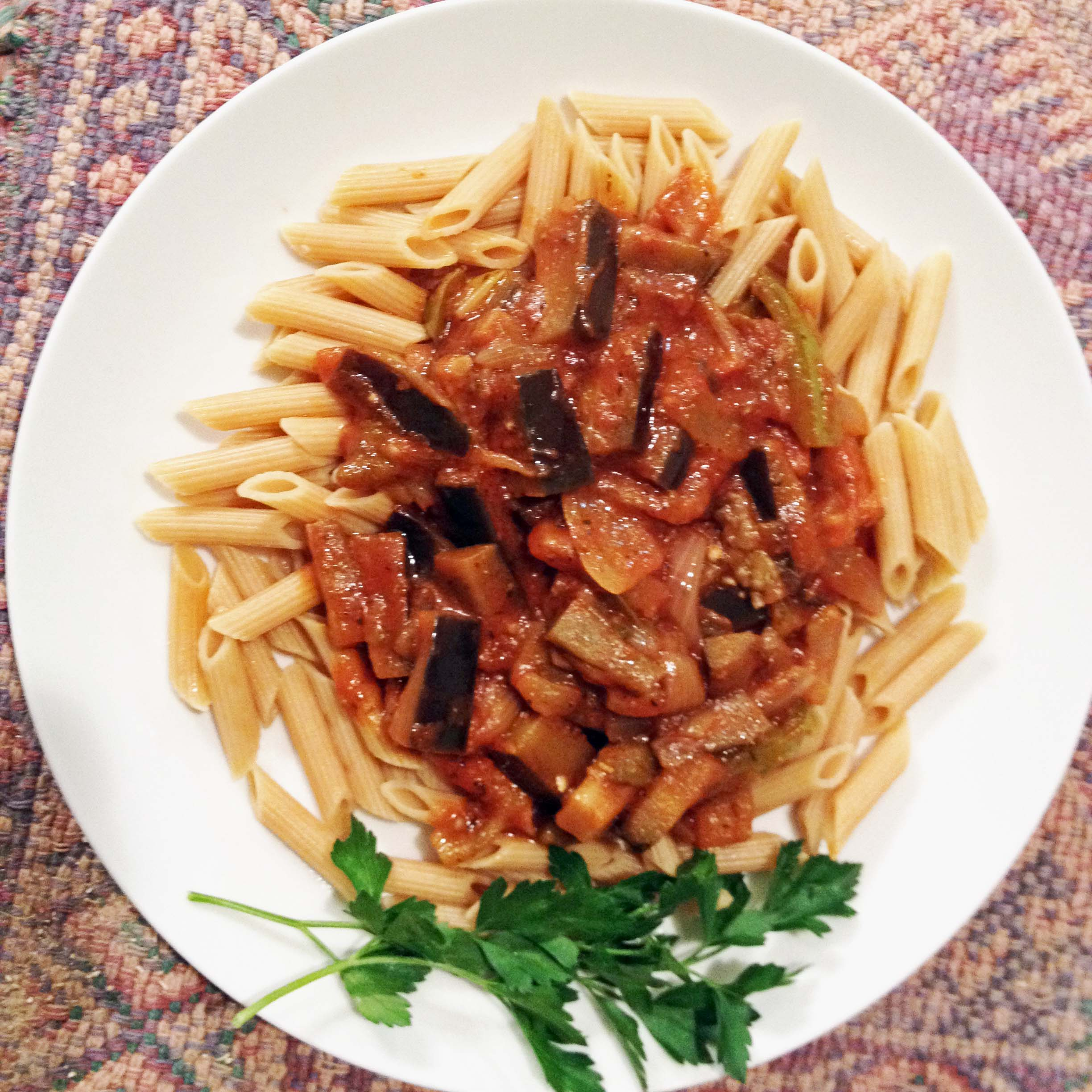 Eggplant Pasta Sauce on Penne...delicious