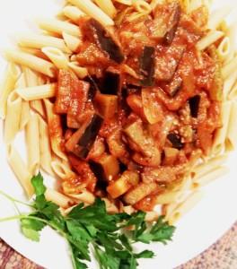 Eggplant Pasta Sauce on Penne...tasty