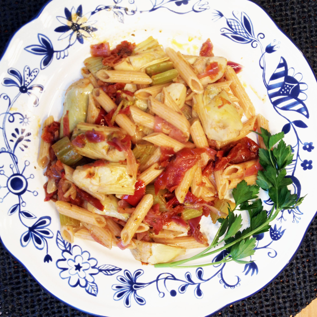 Pasta with Artichoke Hearts and Oven-dried Tomatoes...Beautiful