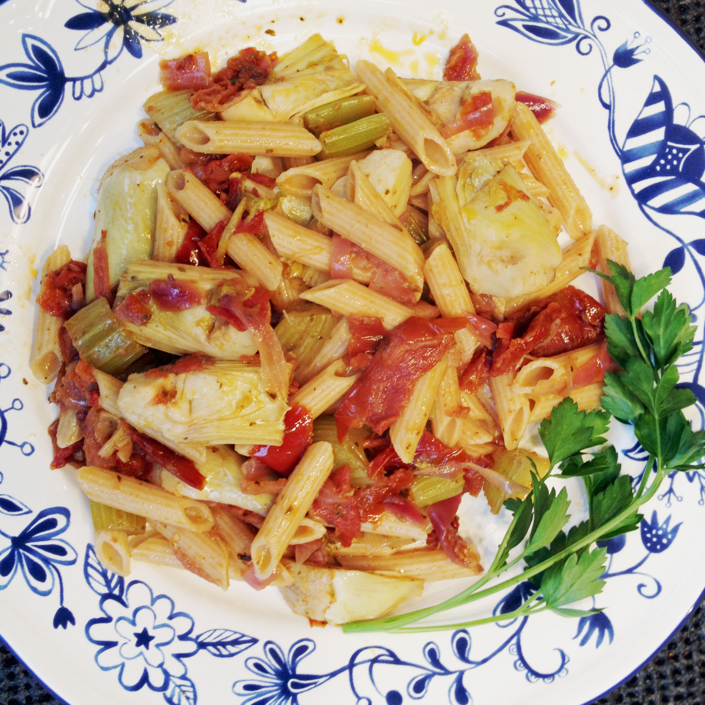 Pasta with Artichoke Hearts and Oven-dried Tomatoes...simply delicious