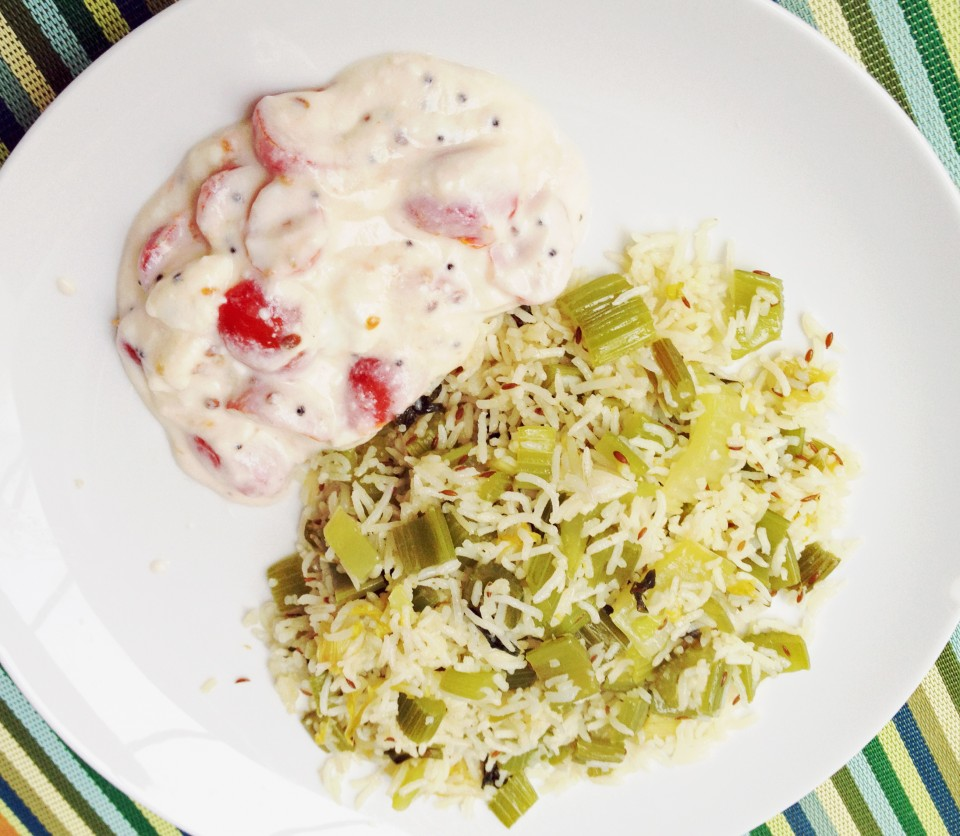 Celery Rice with Tomato Raita