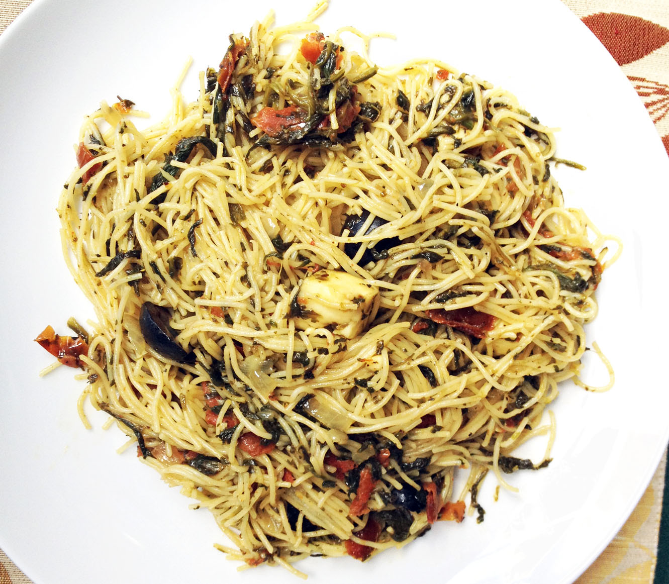 Spinach, Sun-dried Tomatoes, Angel Hair Pasta