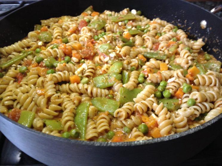 Spicy Tangy Veggie Rotini Pasta